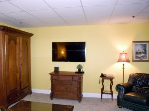 Television, closet, chair, and lamp in living room