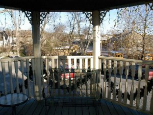 Round balcony overlooking trees outside