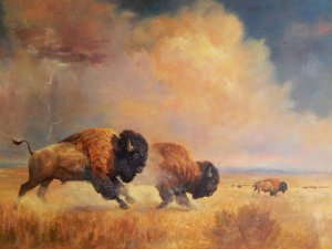 galloping bison beneath cloudy sky