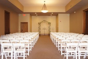 Rows of seats in ceremony room