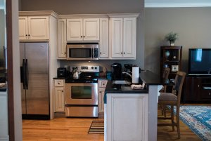 Cabinets and appliances in kitchen