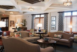 Couches in lobby across from windows