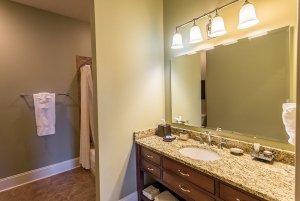 Bathroom sink countertop and mirror