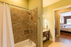 Shower and tub in bathroom