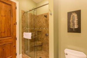 Glass door shower with seat in it