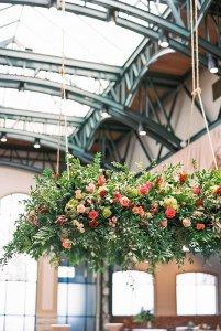 Flower arrangement hanging from ceiling