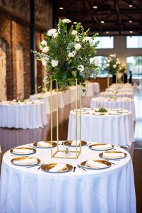 Plates set around dinner table