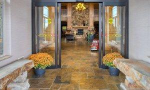 Automatic doors leading into lobby