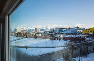 View of Anchorage seen through window