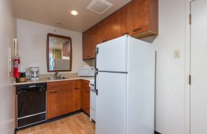 Fridge in kitchen area