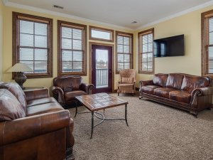 Sitting area with two couches and coffee table