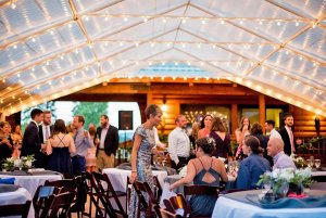 elegant lighted wedding tent