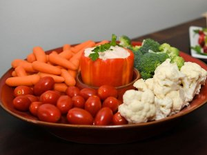 Tray of vegetables and dip