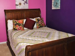 Wood framed double sized sleigh bed