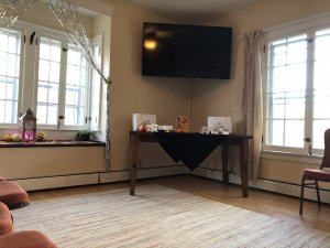 Open living room with couches and coffee table