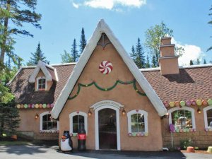 gingerbread house themed building