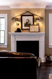 Leather sofa near fireplace