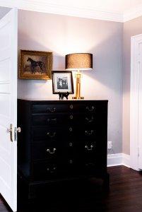 Black Highboy Dresser with lamp