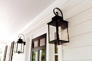 Glass lanterns next to front door
