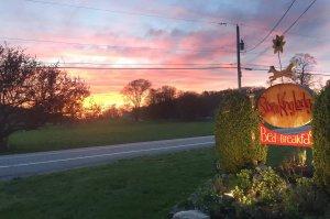 Storm King Lodge sign at dusk