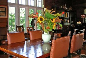 Leather chairs around dining table