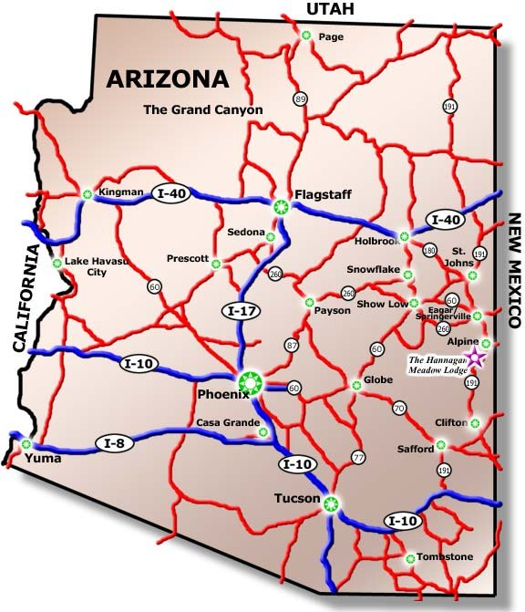 Map Of Arizona I40.Driving Directions White Mountains Cabins Hannagan Meadow Lodge