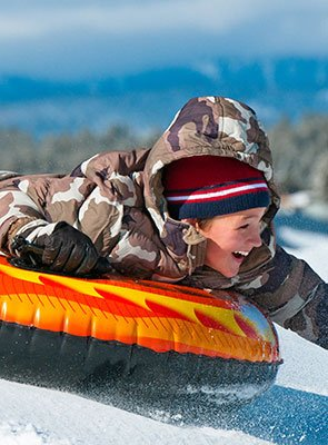 Sledding at Pine Knot Guest Ranch in Big Bear Lake, California