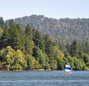 A Sailboat on Lake Gregory in California
