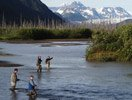River Fishing near Bears Den Cabins in Cordova, Alaska