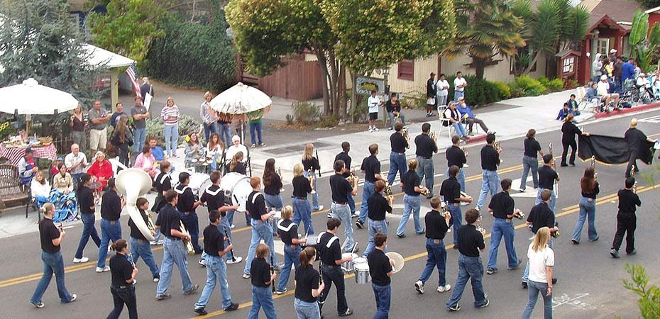 Marching Band in a parade near White Water Inn in Cambria, CA