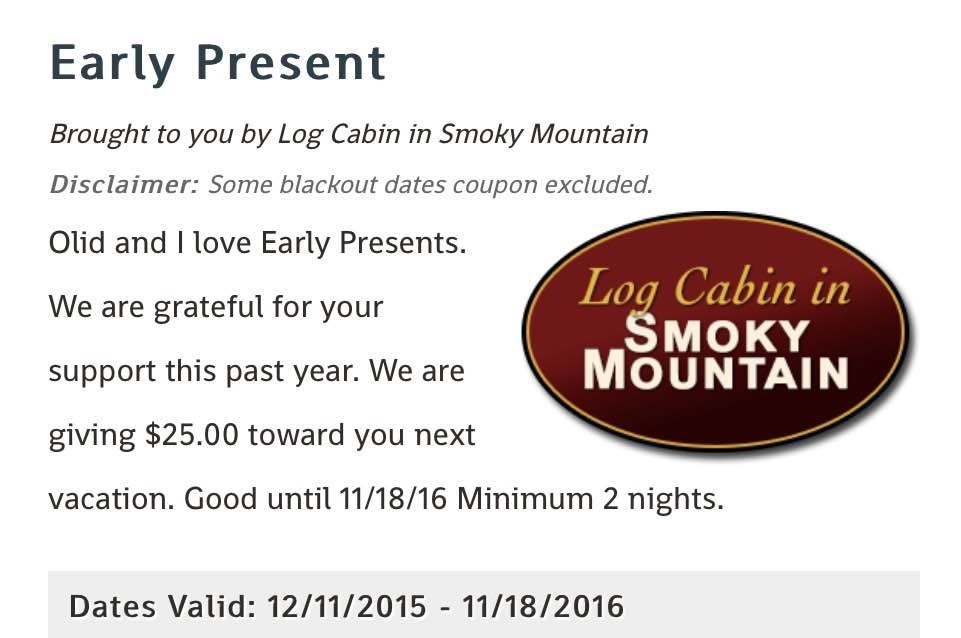 Smoky Mountains Cabin Vacation Rental – Coupon Disclaimers