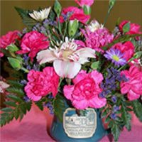romantic floral arrangements at the Chocolate Turtle