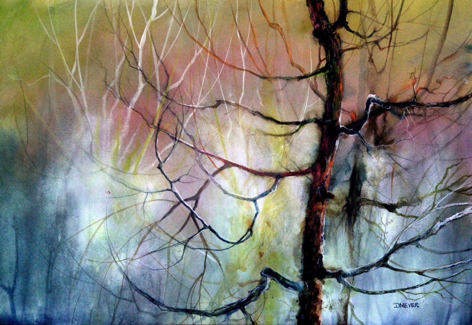 colorful tree painting by Deborah Meyer