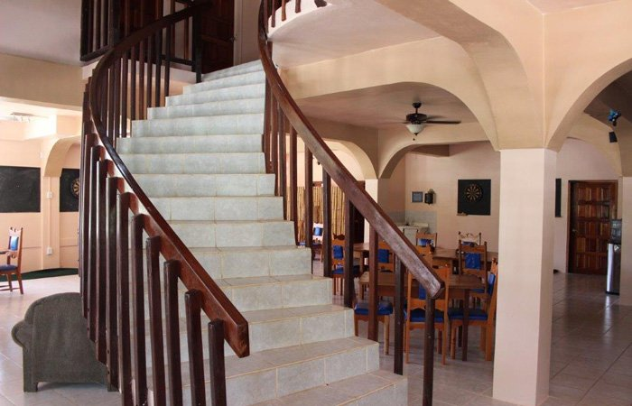 staircase at copper bank inn