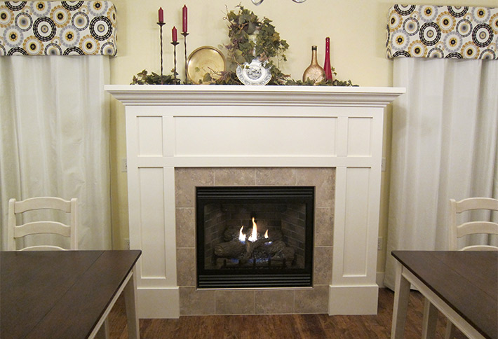 fireplace at the crossings bed and breakfast