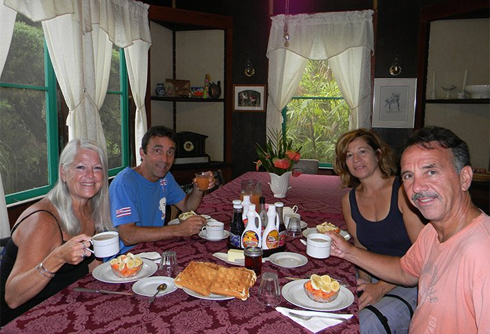 enjoying a meal at maureens bed and breakfast