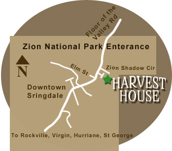 Map to Harvest House B&B in Springdale Utah