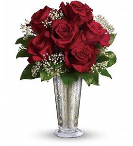 kiss of the rose flower arrangement at Idahom B&B