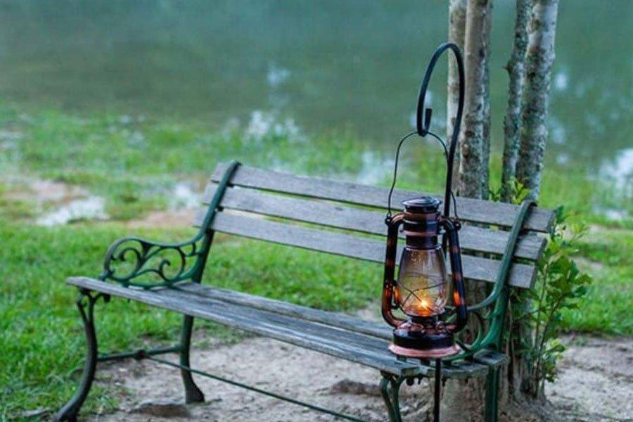 Lantern on an old bench