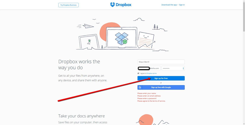 Set up a Dropbox Account 1