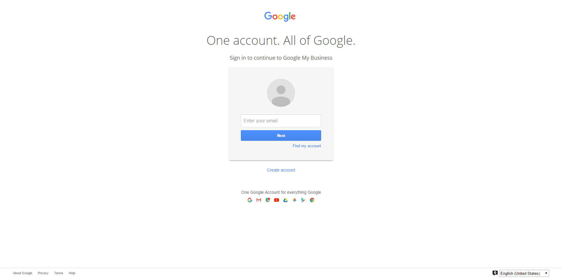 sign in with your Google Account, or create one
