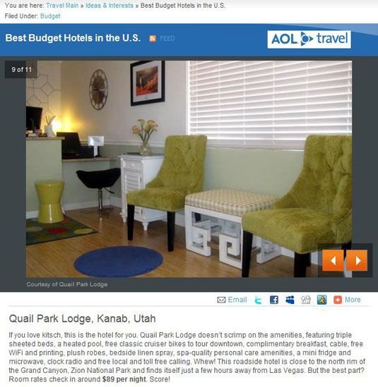 AOL Travel article about Quail Park Lodge in Kanab, UT