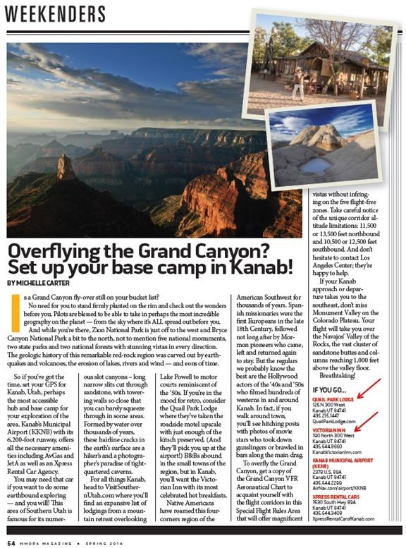 Weekenders article about Quail Park Lodge in Kanab, UT