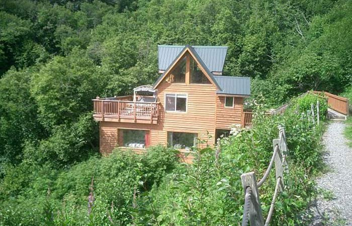 on tub seward creekside cabin in rentals eagles a alaska ak cliff nest cabins hot rental