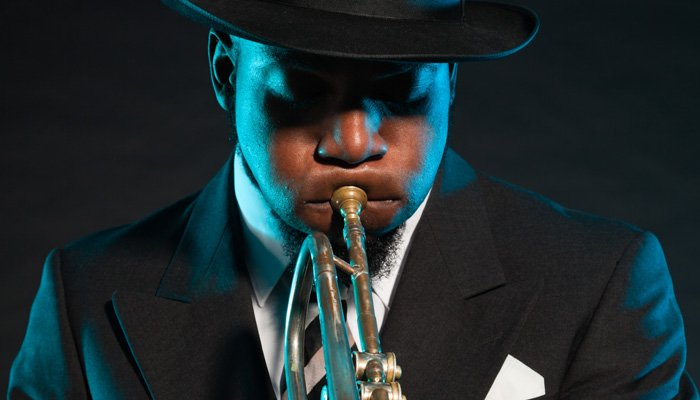 A musician playing a trumpet