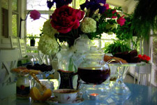 Wine and floral arrangements