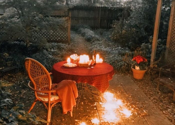 Candles on an outdoor table