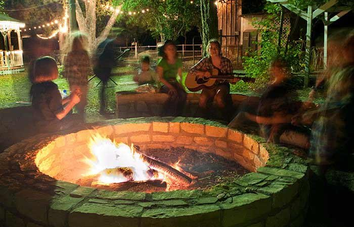 fire pit at Country Woods Inn in Glen Rose TX