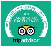 Hall of Fame, 2015, 2016, 2017, 2018, 2019 Certificate of Excellence, TripAdvisor