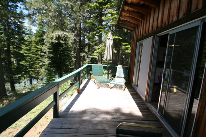 A deck attached to a cabin